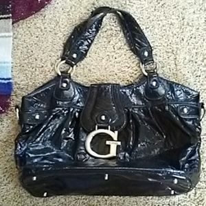 Guess Patent Soft Black Leather Bag